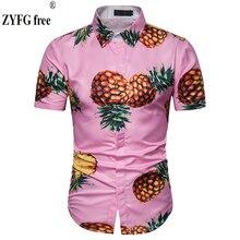 купить Summer men's casual shirts turn-down collar pineapple printed tide shirt men's popular short sleeve shirt plus size дешево