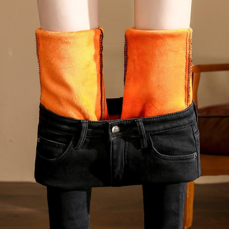 Women's Plus Velvet Jeans High Waist Women's Autumn And Winter New Tight Skinny Feet Pants Plus Velvet Pencil Wild Trousers