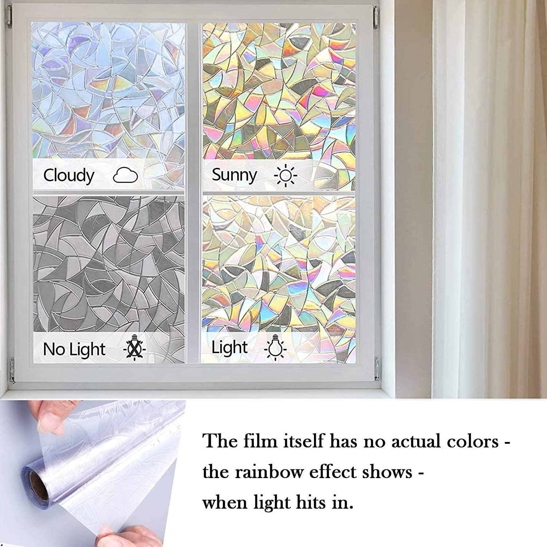 Decorative 3D Window Privacy Film Stained Glass Window Sticker,Window Self-adhesive Vinyl Static Anti Uv Glass Tint Film 3
