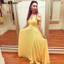 SINGLE ELEMENT A-Line Off the Shoulder Yellow Chiffon Prom Dress