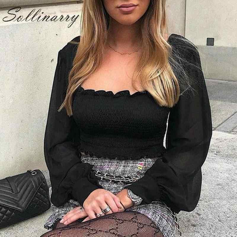 Sollinarry Fashion białe dorywczo krótkie bluzki damskie 2019 długie rękawy Twist Slim Sexy t-shirty damskie przezroczyste Streetwear topy