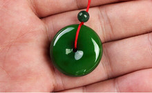 +++831 100% Natural and nephrite stone pendant peace buckle, hand-carved(China)