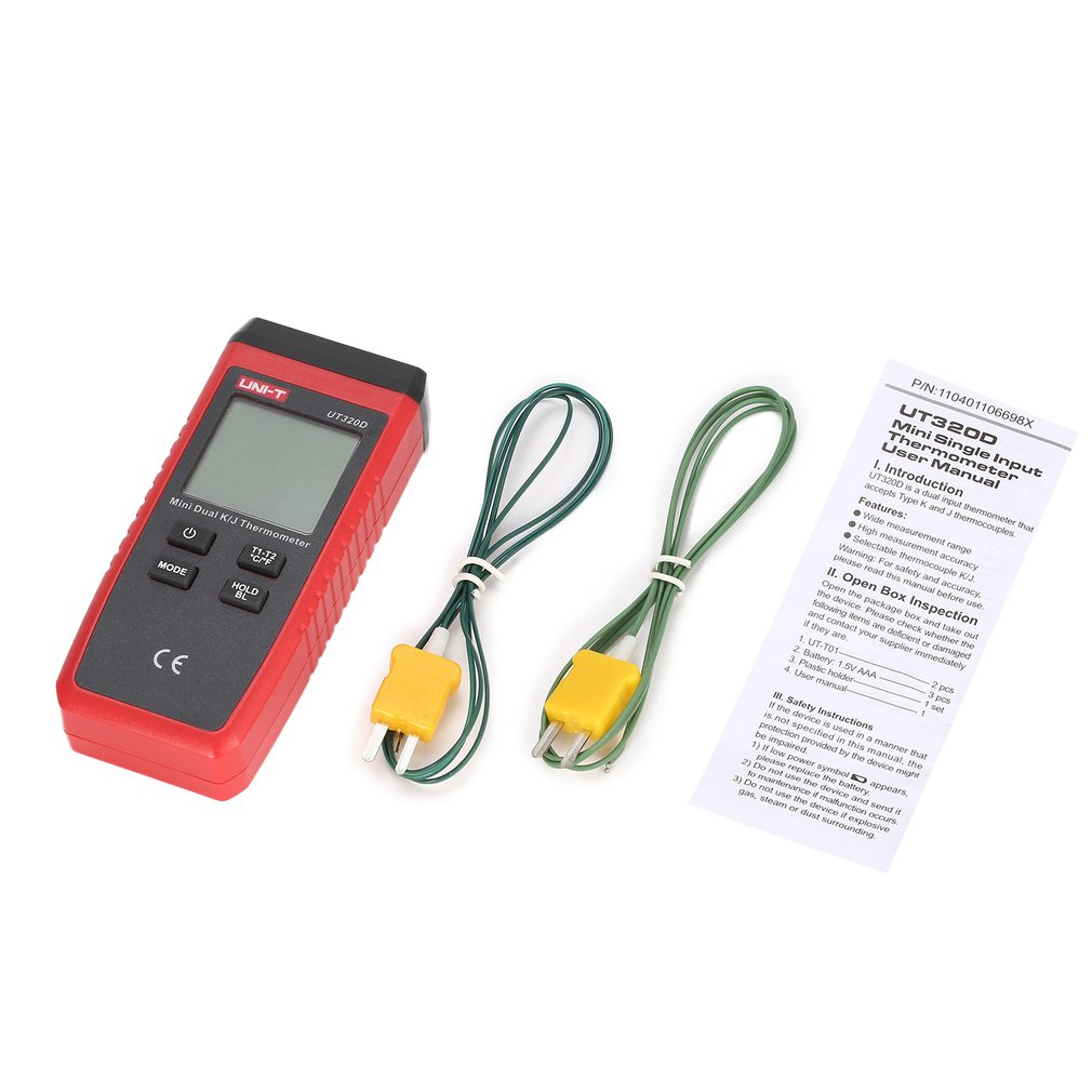 UNI-T UT320A UT320D Thermometer K/J Type Dual-CH Digital Thermocouple Thermometer Handheld Temperature Meter with Sensor Probe