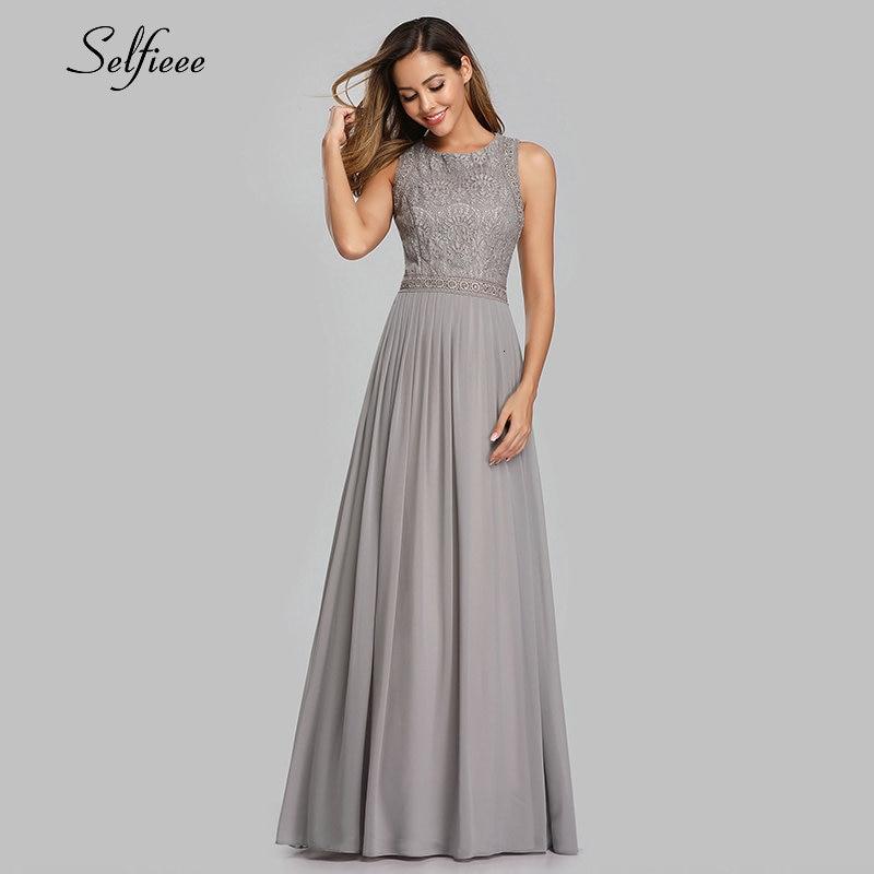 New Woman Dress Elegant Evening Robe Longue A Line O Neck Beaded Lace Party Dresses Floor Length Long Chiffon Formal Dress 2020 3