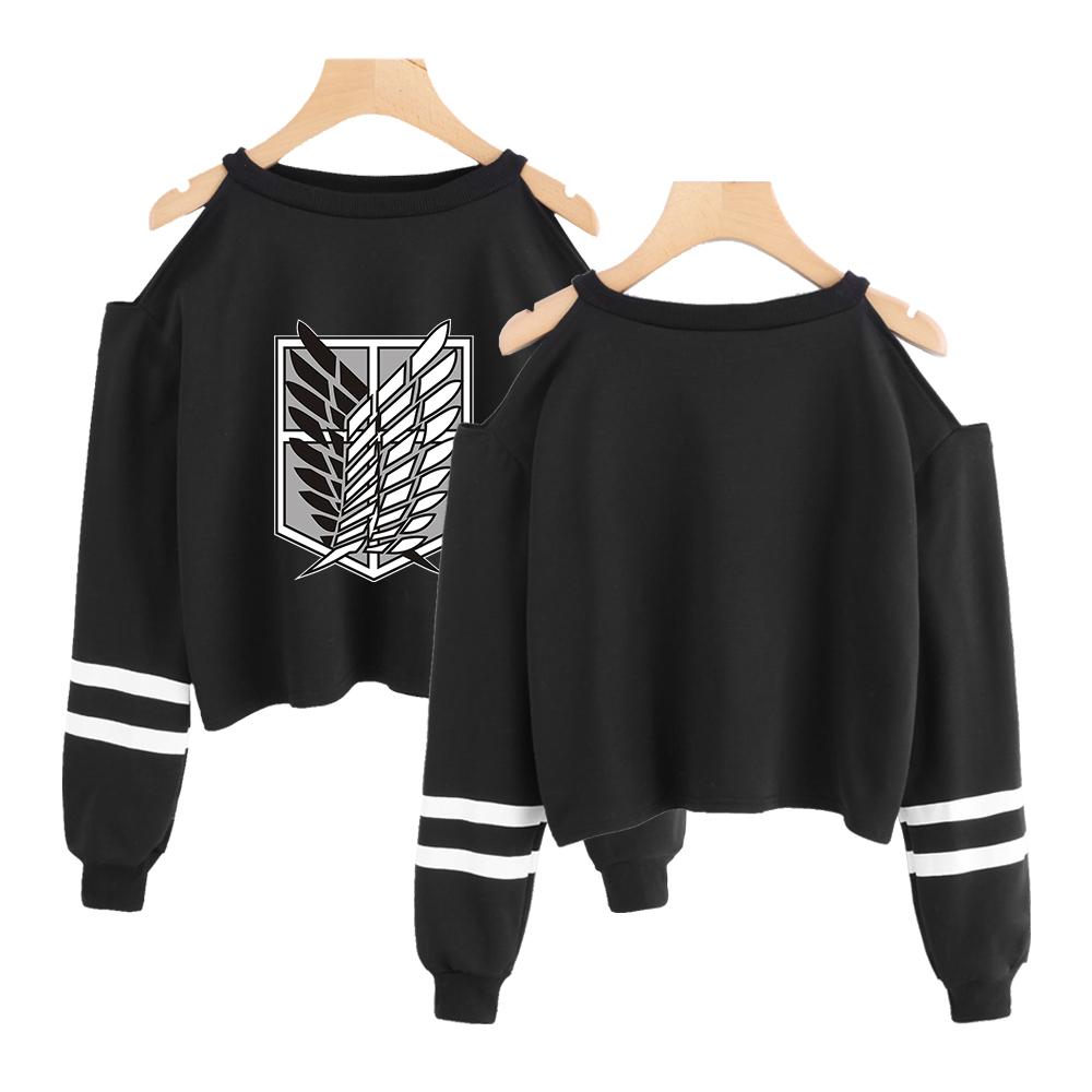 Attack on Titan off shoulder crop summer top long Sleeve shirt womens streetwear Street fashion girls black sweatshirt hoodies