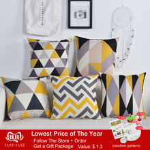 Nordic Geometeic Cushion Cover Colourful Triangle Pillow Covers Yellow Gray Pillowcases 45 45cm Home Office Decorative