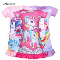 Camisón de princesa para niñas pequeñas, pijamas de unicornio de verano, vestido de noche para dormir