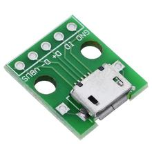 Micro USB untuk DIP 5pin Female CONNECTOR Type B PCB Konverter Pinboard 2.54(China)