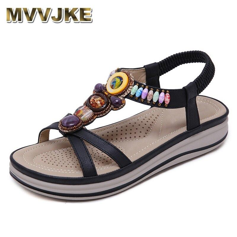 MVVJKE Women Summer Flat Platform Gladiator Sandals Gemstone Beaded Crystal Peep Toe Boho Shoes Woman Big Size Boho Sandals(China)