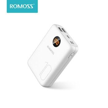 ROMOSS OM10 10000mAh بنك طاقة عالي السعة مزدوج USB ميناء كابل بطارية خارجية حزمة السفر حجم شاحن محمول للكمبيوتر اللوحي آيفون