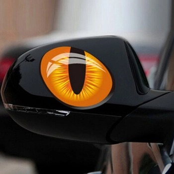 New 2Pcs 3D Cat Eyes Car Sticker Simulation Reflective Auto Decal Rearview Mirror Window Cover Decoration Exterior Accessories image