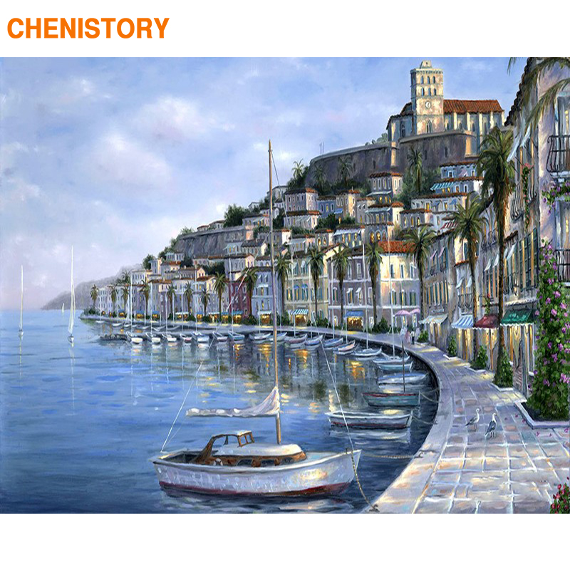 CHENISTORY Frame Coastal City Paint By Numbers Kit Landscape Diy Picture By Numbers Modern Wall Art Canvas Acrylic Paint Artwork
