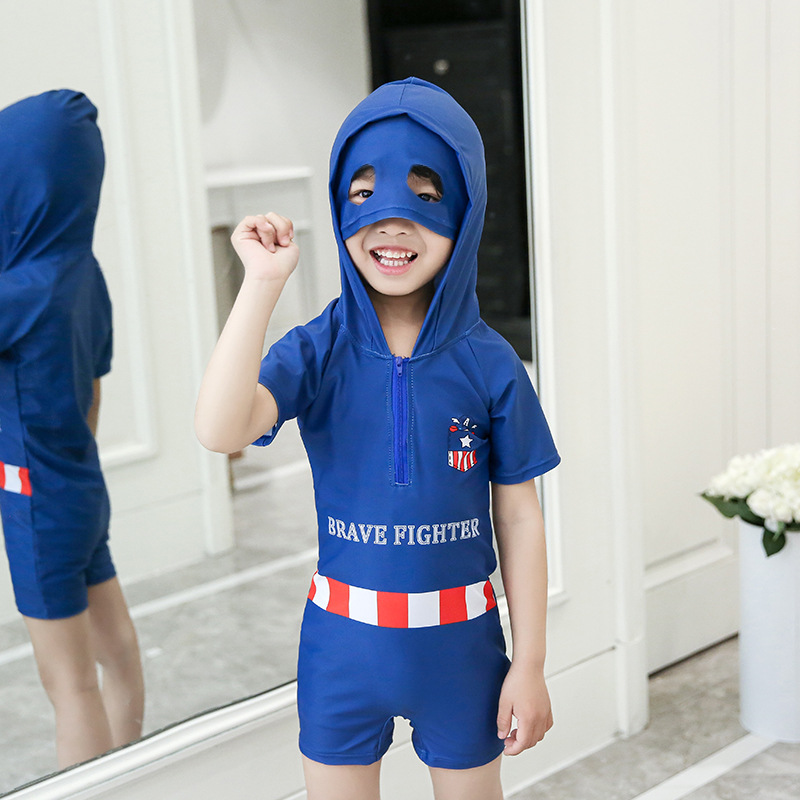 2019 New Style Hot Sales KID'S Swimwear One-piece Hooded Sun-resistant Short Sleeve Shorts Cartoon Handsome Hot Springs BOY'S Sw