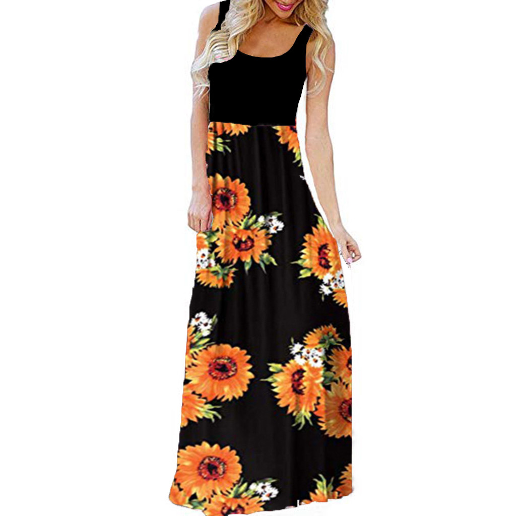 Vintage Women Sunflower Dress Summer Long Dresses Women's Casual Sleeveless O-Neck Print Maxi Tank Long Dress Ladeis Vestidos