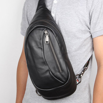 New Men Cowhide Leather Crossbody Bag Casual Shoulder Bags High Quality Chest Pack Genuine Messenger
