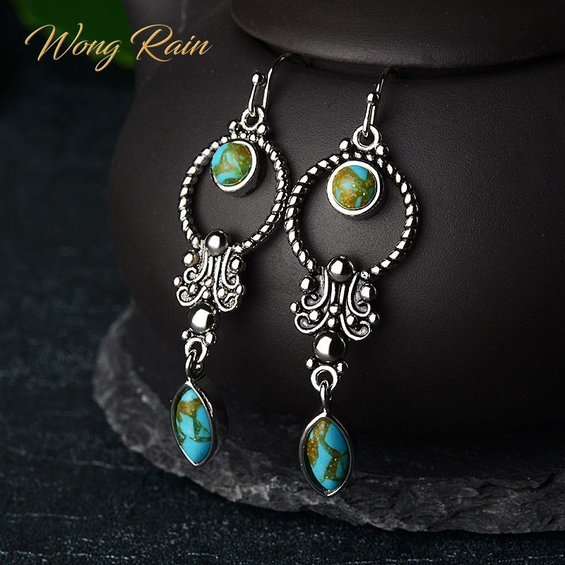 Wong Rain Vintage 100% 925 Sterling Silver Turquoise Gemstone Drop Dangle Hook Earrings Fine Jewelry Wholesale Drop Shipping