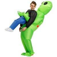 Halloween Costume for Women Men Inflatable Green Alien Cosplay Adult Funny Blow Up Suit Party Fancy Dress