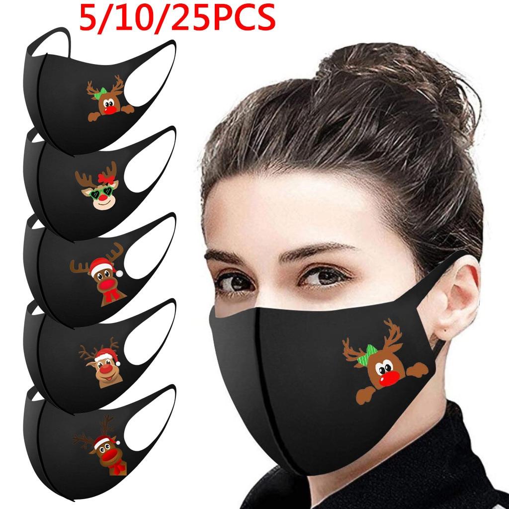1 шт., Рождественская Маска для лица для взрослых, моющаяся ткань для рта, Маска для лица для защиты, многоразовая Маска для рта с принтом Санта лося, колпачки для ушей, Маска|Женские маски|   | АлиЭкспресс