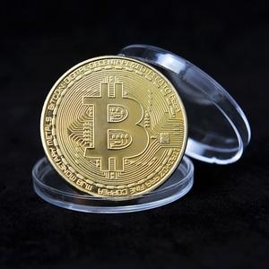 Gold Plated Bitcoin Coin Art Souvenir Great Gift Collectible Physical Metal Coin Crypto Commemorative Coin