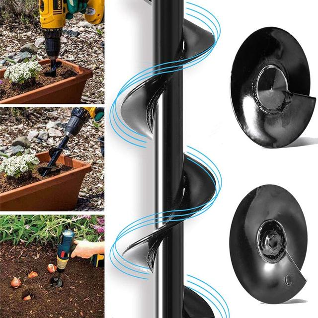 Garden Auger Spiral Drill Bit Roto Flower Planter Bulb HEX Shaft Drill Auger Yard Gardening Bedding Planting Hole Digger Tool 2