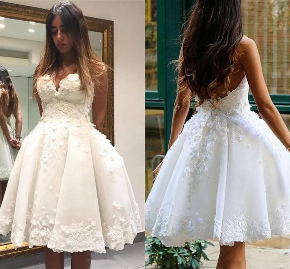 robe de soriee New Short White   Cocktail     Dresses   Lace Appliques Ball Gown Sleeveless   Cocktail   Party Prom   Dress   2019