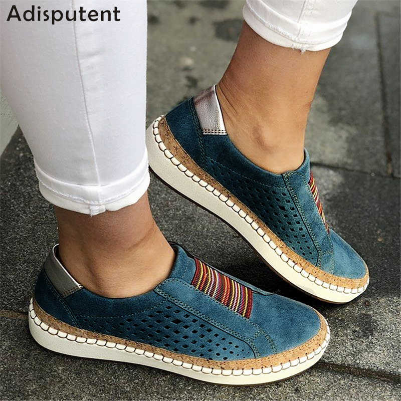 ADISPUTENT หนัง Loafers Casual รองเท้าผู้หญิง SLIP-ON สบาย Loafers Flats Tenis Feminino Zapatos De Mujer
