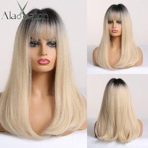 Image 1 - ALAN EATON Ombre czarny jasny blond peruki syntetyczne długie proste kobiety peruki z grzywką Bobo peruki naturalne wysokiej temperatury włókna