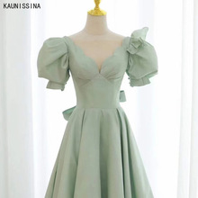 Cocktail-Dresses Formal-Gowns Elegant Length Women Calf KAUNISSINA A-Line V-Neck Puff-Sleeve