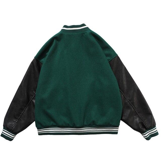 Aolamegs Furry Bone Letter Patch Color Block Patchwork 3 color Optional Harajuku College Style Bomber Jacket Men Baseball Coats 2