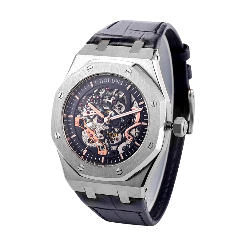 HOLUNS Automatic Mechanical Watches For Men Full Stainless Steel Watch 5 ATM Waterproof Sapphire Glass Watch Gifts For Men