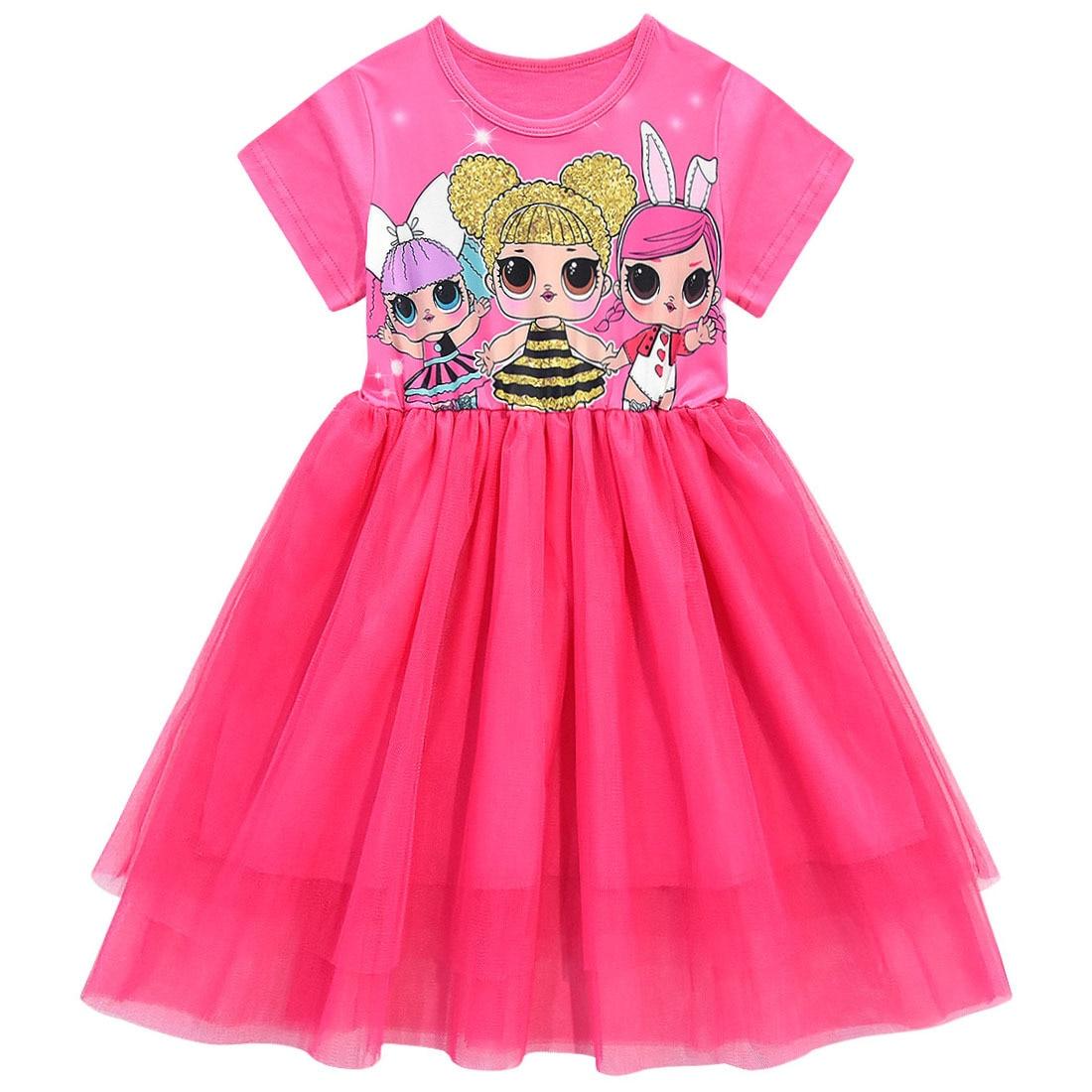 Girls Lol Dress Toddler Baby Lol Doll Clothes Kids Cartoon Print Princess Dress Children Short Sleeve Birthday Vestido for Girl 2