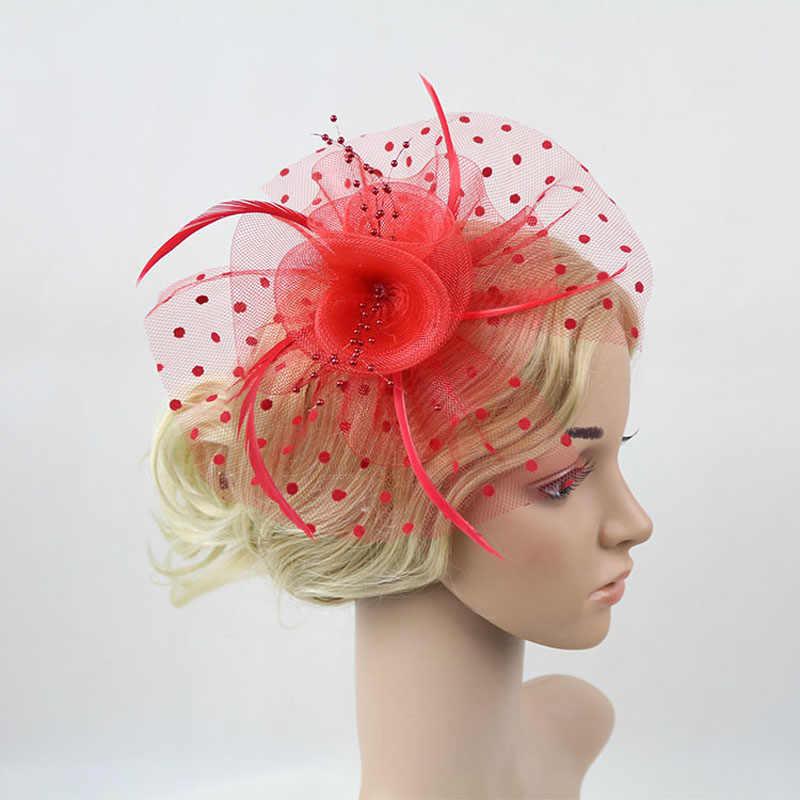 Kentucky Derby kokteyl çay partisi şapkalar çiçek örgü Net tüy Fascinators şapka kadınlar için Vintage 1920s 1950s saç klipleri