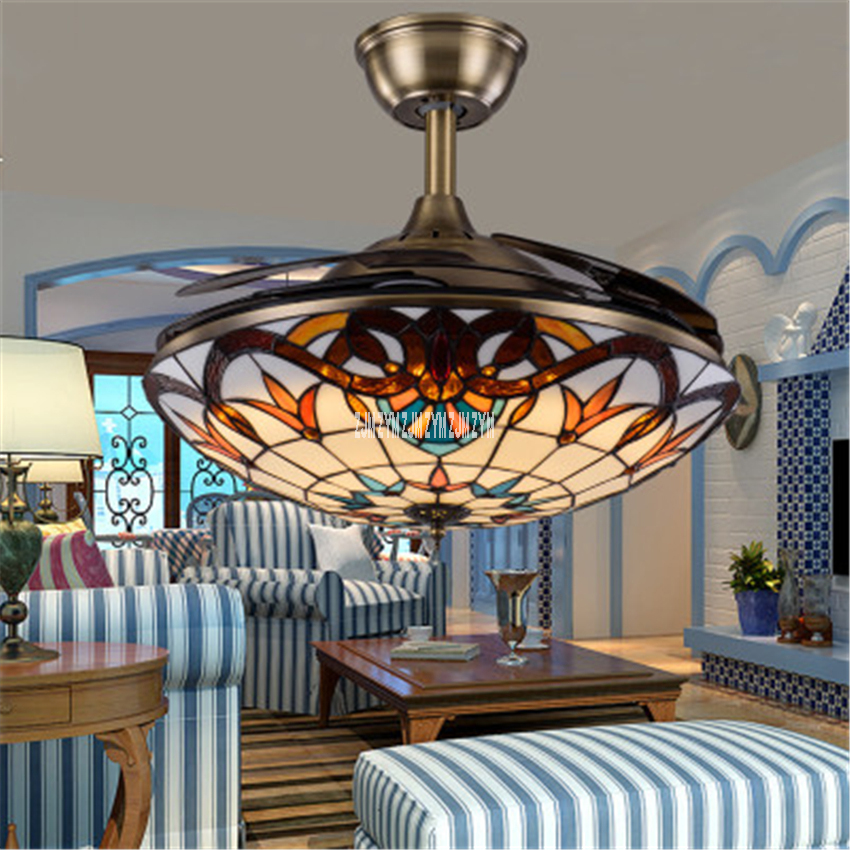9016 36/42inch glass lampshade dimming <font><b>Remote</b></font> <font><b>Control</b></font> Creative Led Invisible <font><b>Ceiling</b></font> <font><b>Fan</b></font> Light Pendant <font><b>Fan</b></font> With Light 220V image