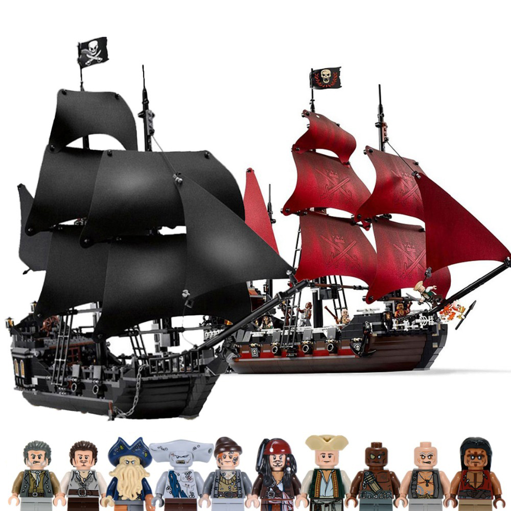 Black Pearl Ship Compatible With Legoinglys Pirates Ships 4184 4195 Caribbean Model Building Blocks Boys Birthday Gifts Kid Toys