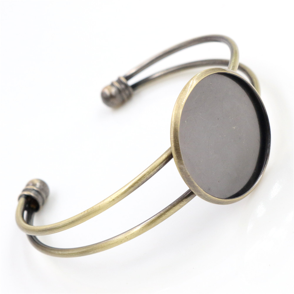 High Quality  25mm Bronze Brushed Metal Plated Bangle Base Bracelet Blank Findings Tray Bezel Setting Cabochon Cameo (L1-19)