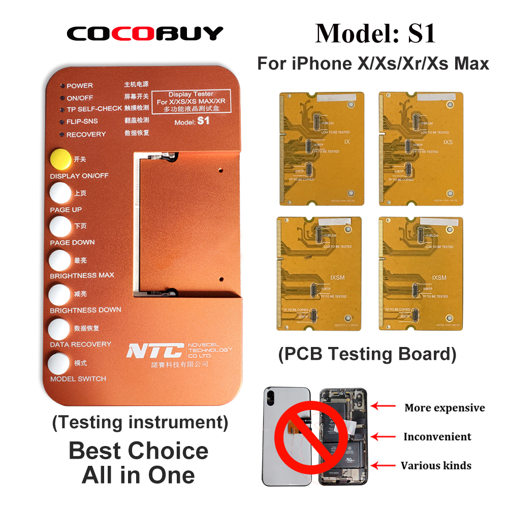 Novecel S1 LCD OLED Tester Substrate Test Box For iPhone 6S to 8P X XS XR XSMAX LCD Display 3D Touch Screen tester