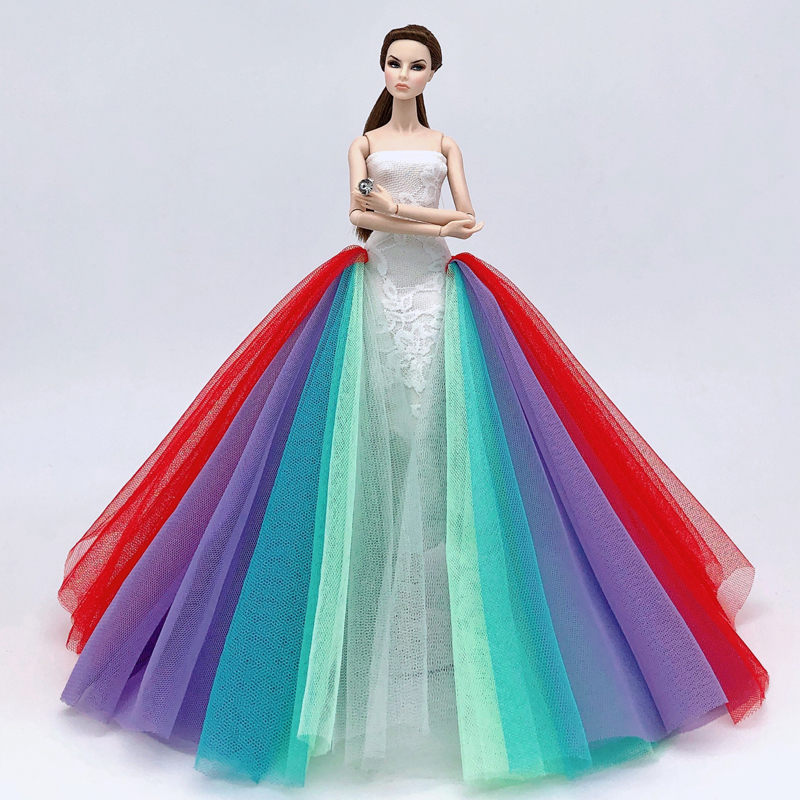 Colorful Rainbow Fashion Doll <font><b>Clothes</b></font> For Barbie Doll Dress Outfits Party Gown For <font><b>1/6</b></font> <font><b>BJD</b></font> Doll Dollhouse Accessories Kids Toy image