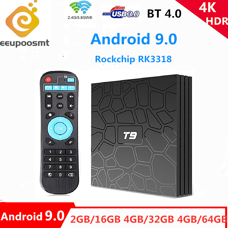 <font><b>Android</b></font> 9.0 T9 <font><b>TV</b></font> <font><b>Box</b></font> 4GB 32 GB/64 GB Smart <font><b>TV</b></font> Rockchip RK3318 1080P H.265 4K 2,4G/5 Ghz Dual WIFI BT 4,0 Media player <font><b>Set</b></font>-<font><b>top</b></font>-<font><b>box</b></font> image