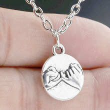 цена на Pinky Promise Charms Alloy Pendants Necklaces Vintage Antique Silver Jewelry Gift New 1PCS