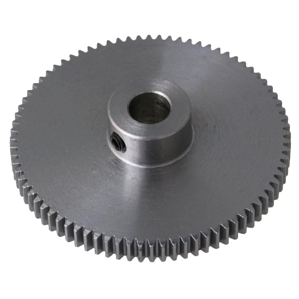 41x10x6MM Silver 80 Teeth Motor Metal 45# Steel Gear Wheel 0.5 Modulus Top Screws 6mm Hole Diameter