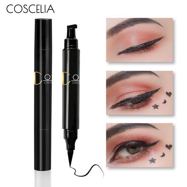 COSCELIA 1PC 2-in-1 Waterproof Seal Black Double Head Waterproof Stamp Eyeliner Pen Tattoo Stamping Eye Liner Pencil Makeup Tool