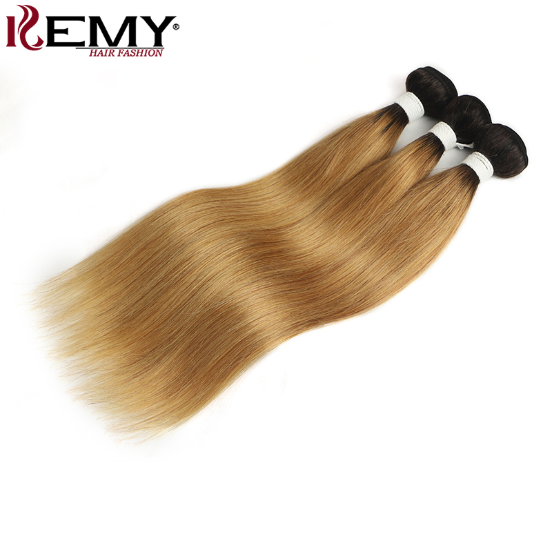 Ombre Blonde Hair Bundles KEMY HAIR T1b/27 30 Brazilian Straight Human Hair Weave Bundles 1 PC 100% Non-Remy Hair Extension