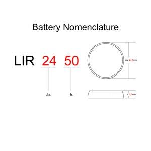 Image 3 - Batería Li ion recargable LIR2450 3,6 V 2 uds pila botón de litio celular LIR 2450 sustituye a CR2450
