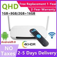 Leadcool-decodificador Q9 con Bluetooth, reproductor multimedia con código, Android 9,0, dispositivo de TV inteligente, 8GB16GBRK3229, cuatro núcleos, WiFi 2,4G, H.265, nuevo estilo