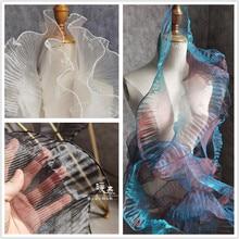 Plissee Organza Spitze Trim Rüschen Falten Transparent Glanz DIY Patchwork Kragen Decor Rock Hochzeit Kleid Designer Zubehör