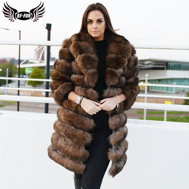 Luxury Sable Color Real Fox Fur Coat For Women 100 CM Long Natural Genuine Fox Fur Jcaket With Lapel Collar Fur Coats Plus Size