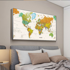 Retro World Map Oil Canvas Painting Posters and Prints Wall Pictures For Living Room Bedroom Map Art Home Decoration Unframed