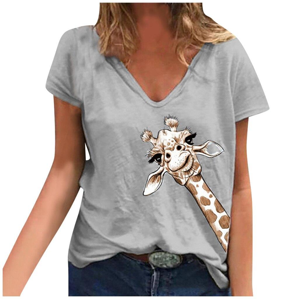 Fashion Women Summer Tops Loose Cute Giraffe Soft Causal Short Sleeve Top Mujer Blouse Hauts Femme Женские топы Lw