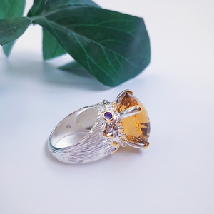 Image 4 - 20*15mm gran Topacio dorado zirconia anillo de joyería de lujo Chapado en plata joyería grande para mujer anillos de cóctel fiesta