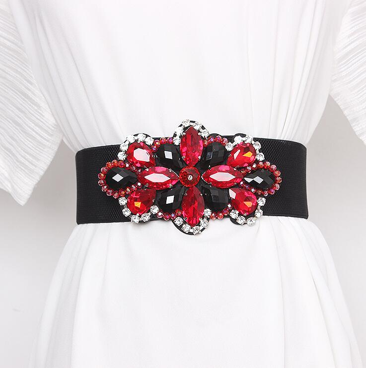 Women's Runway Fashion Rhinestone Beaded Elastic Cummerbunds Female Dress Corsets Waistband Belts Decoration Wide Belt R2965